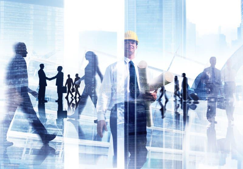 Imagem abstrata de povos ocupados profissionais imagens de stock