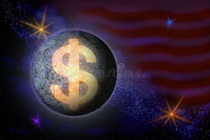 Imagem abstrata de um símbolo da moeda americana do dólar no th ilustração do vetor