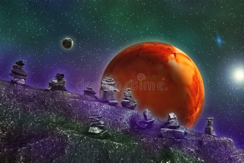 Imagem abstrata de um universo paralelo, vista de um ston desconhecido ilustração royalty free