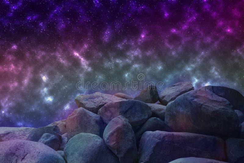 Imagem abstrata de um universo paralelo, vista de um ston desconhecido ilustração do vetor