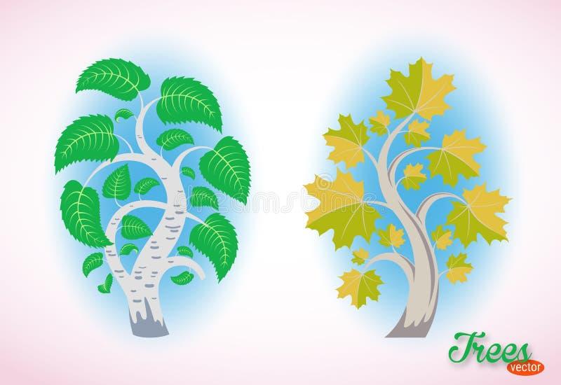Imagem abstrata de um vidoeiro e de um bordo Árvores finas do vetor Folha luxúria e ramos curvados Objetos isolados no fundo bran ilustração do vetor