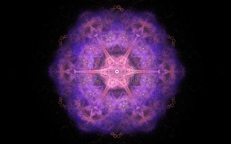 Imagem abstrata de uma estrela macia com seis raios do fumo de ondulação cor-de-rosa do cor e o violeta em um fundo preto ilustração stock