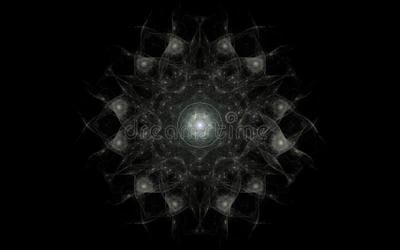 Imagem abstrata de uma flor fabulosa da cor cinzenta com um ornamento e um interior redondo do teste padrão em um fundo preto ilustração royalty free