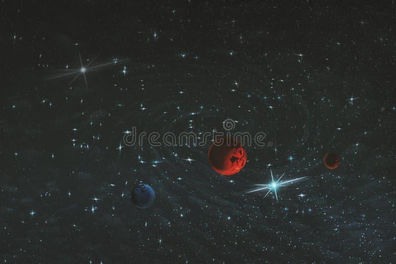 Imagem abstrata de uma galáxia desconhecida no espaço infinito na cor fria preta e azul, ilustração ilustração royalty free