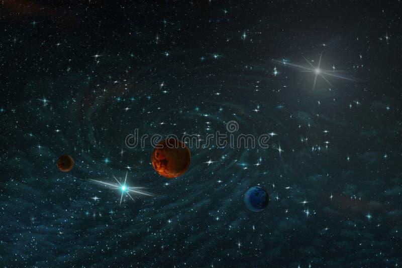 Imagem abstrata de uma galáxia desconhecida no espaço infinito na luz azul, ilustração ilustração royalty free