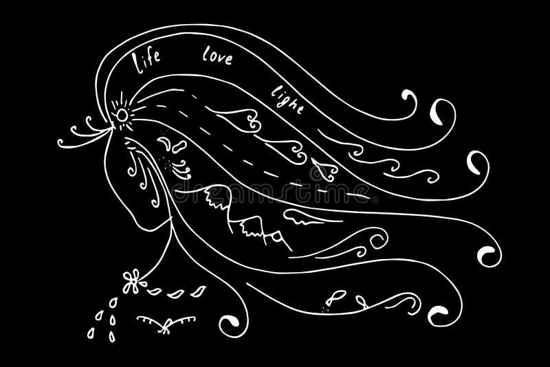 Imagem abstrata de uma menina, natureza, ilustração royalty free