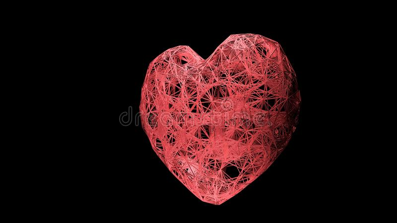 Imagem abstrata do coração sob a forma de um céu ou um espaço estrelado, consistindo em pontos e linhas, estrelas e o universo ilustração stock