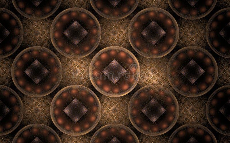 Imagem abstrata do fundo de muitos círculos com um teste padrão dentro do marrom em um fundo bege ilustração do vetor