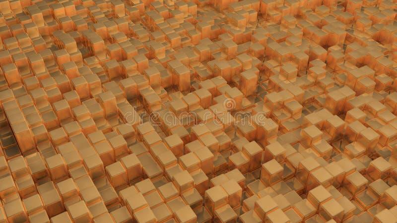 Imagem abstrata do fundo dourado dos cubos ilustração stock