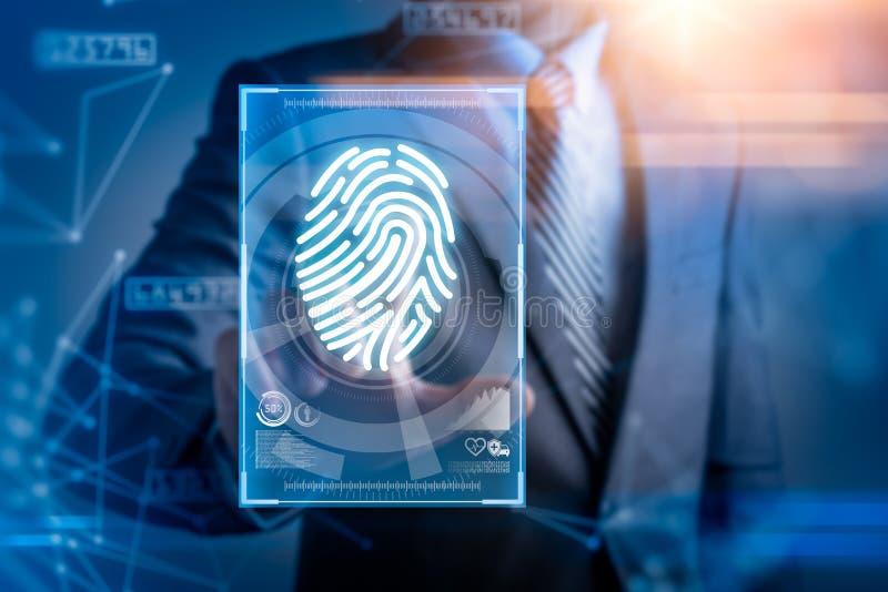 A imagem abstrata do homem de negócios usa uma exploração do polegar coberto com o holograma futurista o conceito da impressão di ilustração do vetor