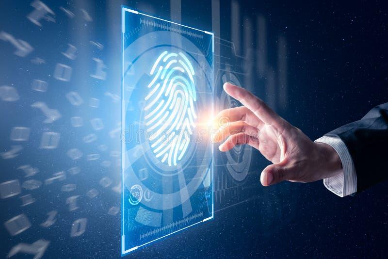 A imagem abstrata do homem de neg?cios usa uma explora??o do polegar coberto com o holograma futurista o conceito da impress?o di imagens de stock