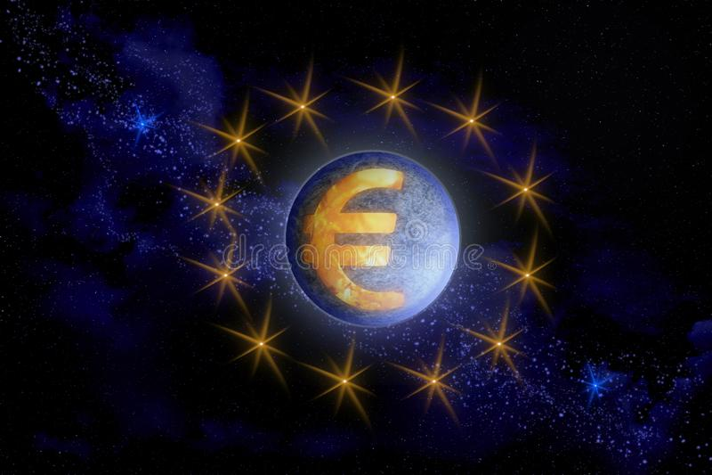 Imagem abstrata do símbolo do euro europeu da moeda como a ilustração stock