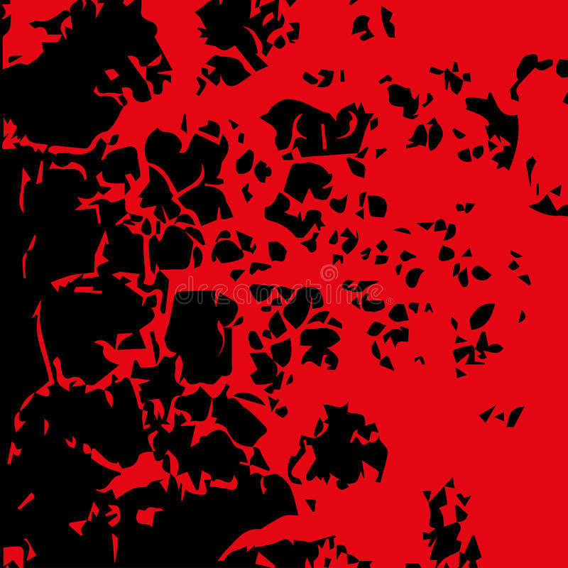 Imagem abstrata do sangue Chapinhar na cor vermelha da tinta no backgro preto ilustração do vetor