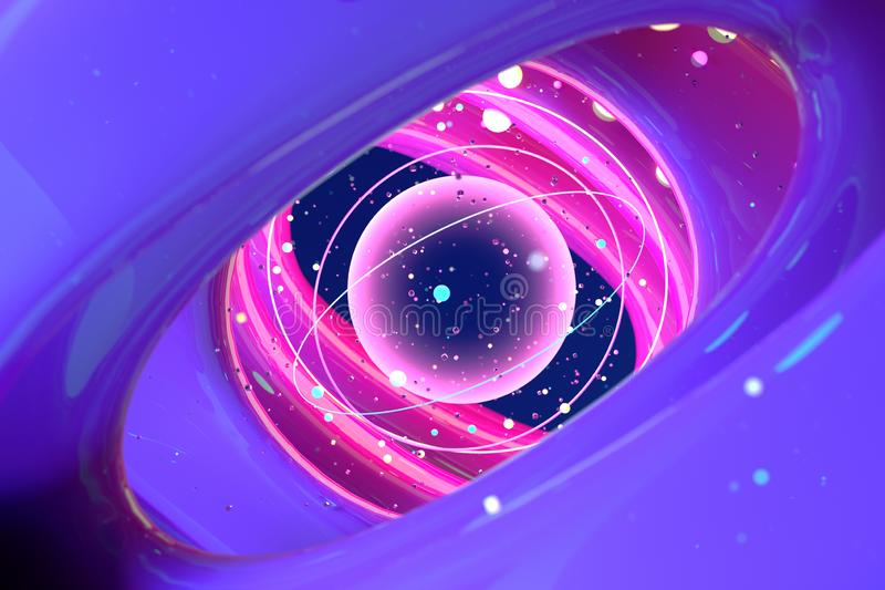 Imagem abstrata do universo e dos planetas 3d rendem foto de stock