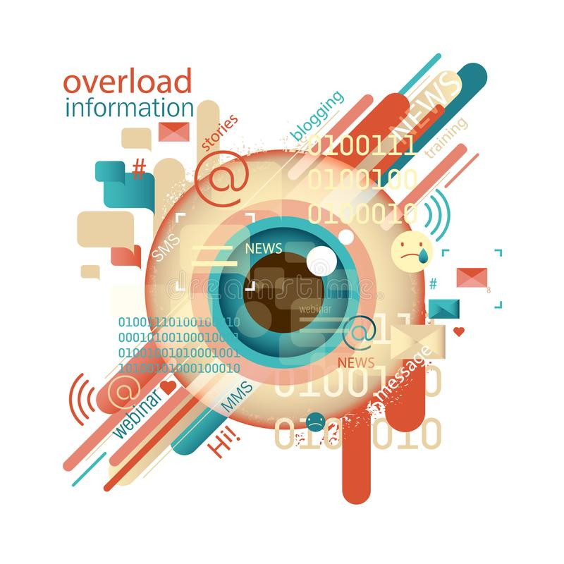Imagem abstrata do vetor Conceito da sobrecarga de informação Informação da intoxicação ilustração stock