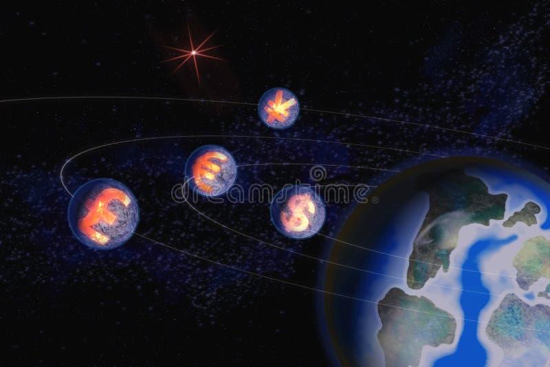 Imagem abstrata dos símbolos de moedas do mundo do dólar americano ilustração royalty free
