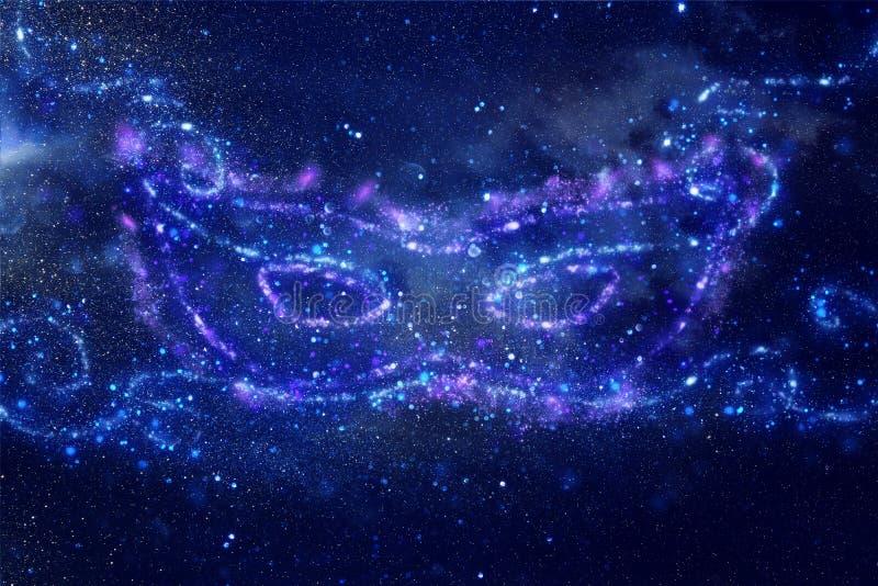 A imagem abstrata e mágica da máscara azul do brilho feita da faísca ilumina-se sobre o fundo azul enevoado escuro ilustração stock