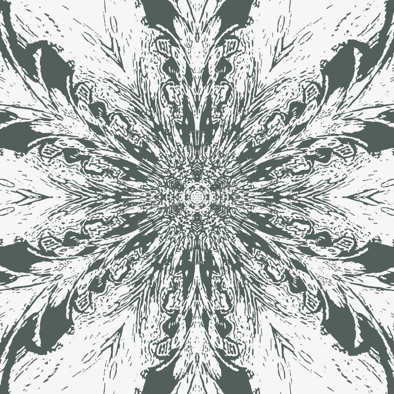 Imagem abstrata no contexto branco Guerreiro do samurai Teste padrão da pena O pavão empluma-se o fundo Teste padrão da tatuagem ilustração royalty free