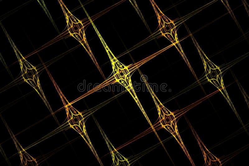 Imagem afiada amarela geométrica da grade do fractal abstrato ilustração royalty free