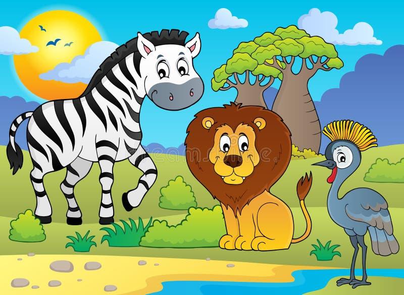 Imagem africana 5 do tema da natureza ilustração royalty free