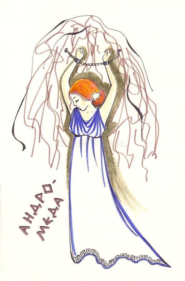 Imagem alegórica das constelações de acordo com a mitologia de grego clássico com inscrição no russo andromeda ilustração stock