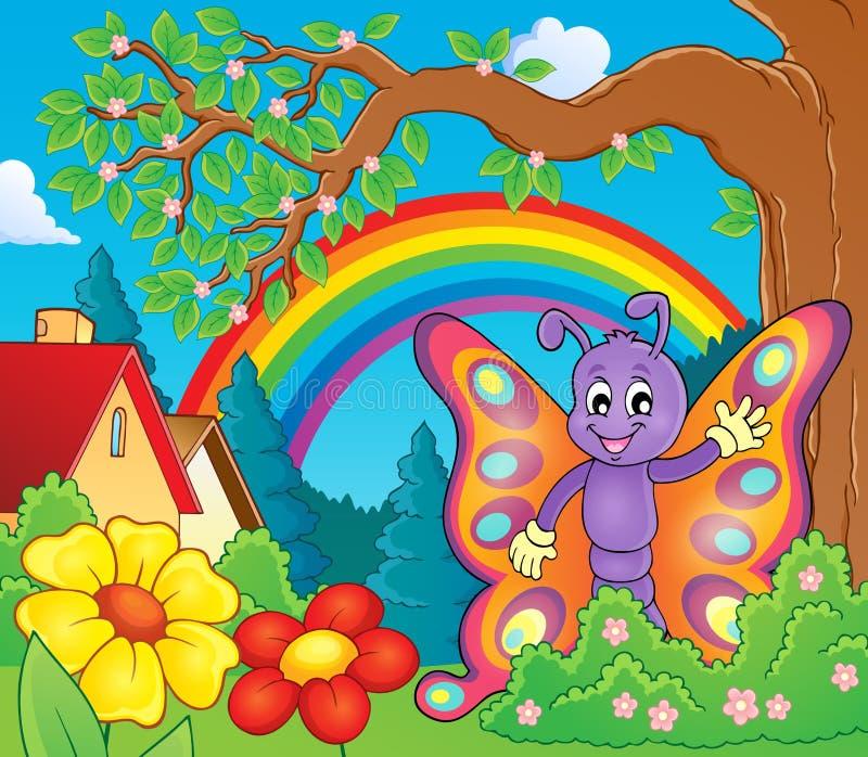 Imagem alegre 3 do tema da borboleta ilustração do vetor