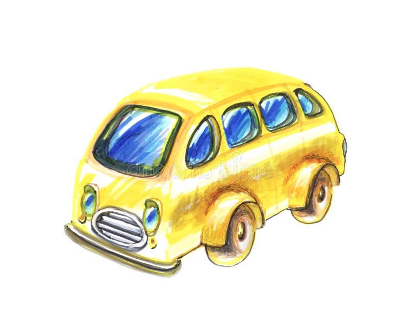 Imagem amarela do ônibus ilustração do vetor