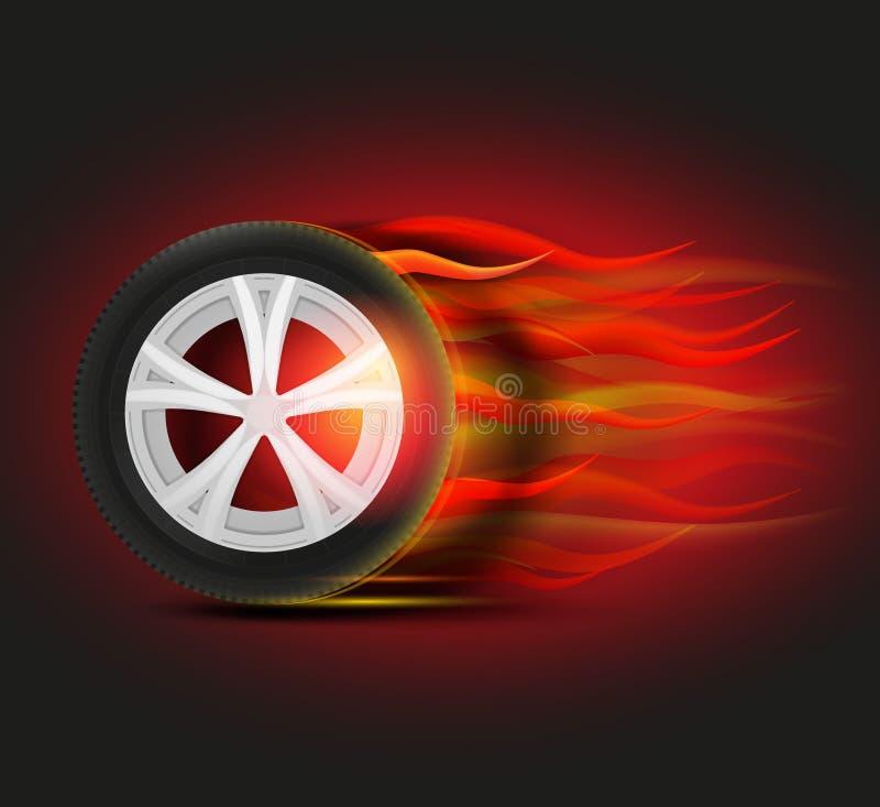 Imagem ardente do pneumático ilustração royalty free