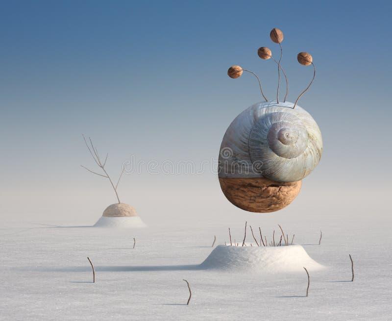 Imagem artística do inverno surreal de um caracol e de uma noz ilustração stock