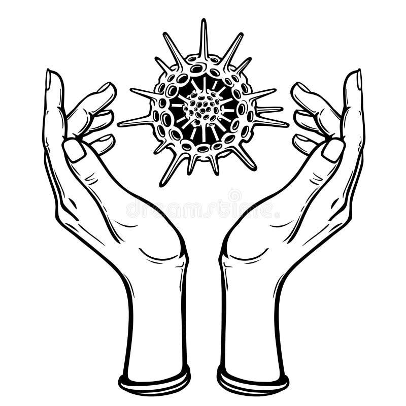 A imagem as mãos estilizados guarda um esqueleto de um radiolaria ilustração do vetor