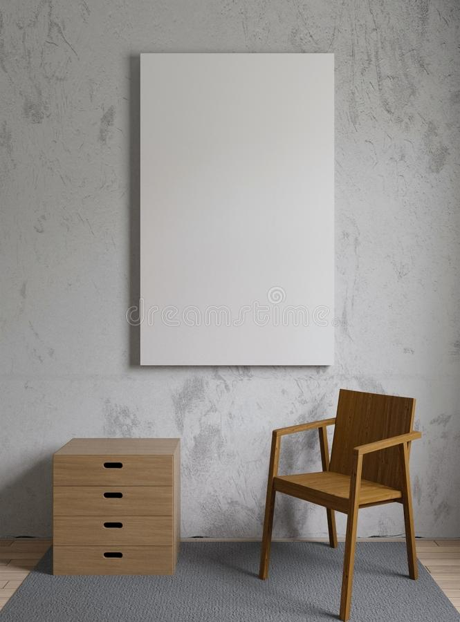Imagem ascendente trocista com cadeira, o muro de cimento, tapete e quadro de madeira, rendição 3d ilustração do vetor