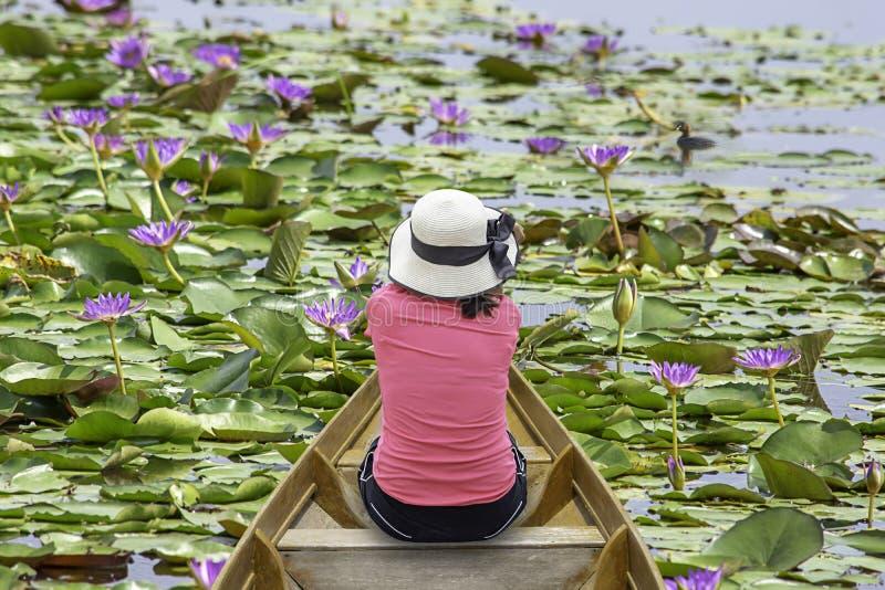 A imagem atrás do chapéu vestindo da mulher que senta-se no barco de madeira na lagoa imagens de stock
