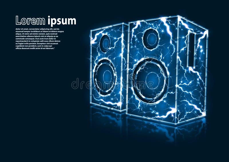 A imagem azul do brilho de oradores audio formou por relâmpagos foto de stock
