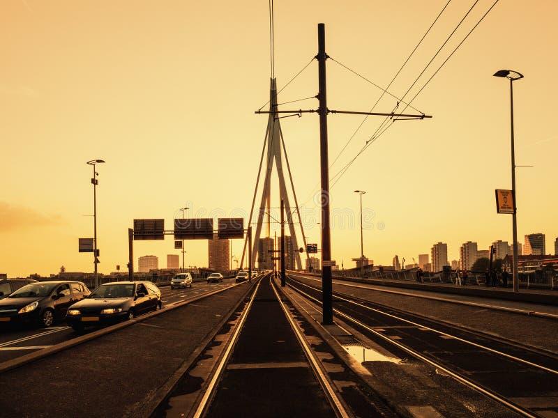 Imagem bonita da ponte famosa do Erasmus sobre o rio Meuse em Rotterdam, os Países Baixos fotografia de stock royalty free