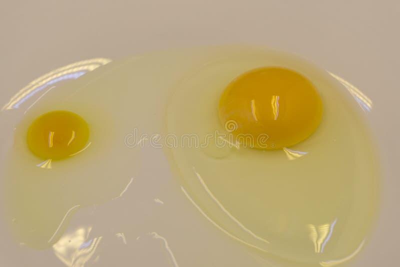 A imagem bonita dos ovos em uma bacia branca com batedores aproxima a gema fotos de stock