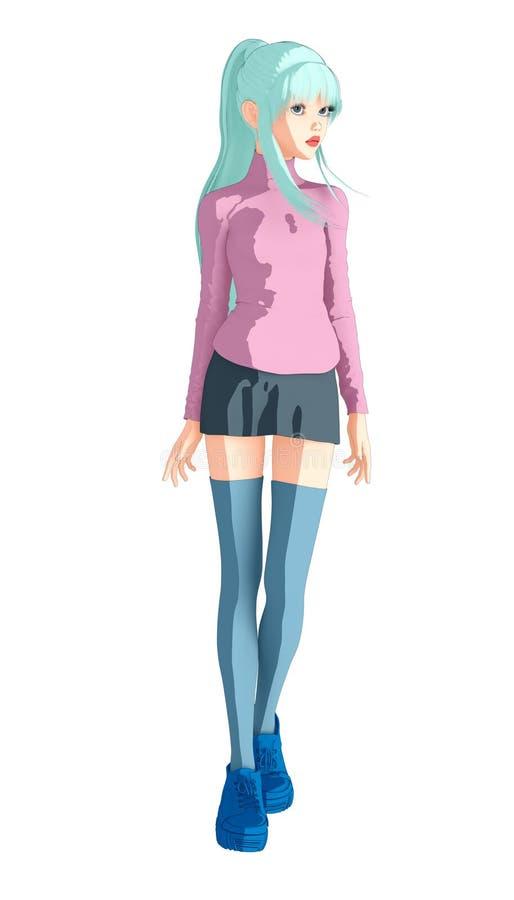 Imagem bonito e consideravelmente completa isolada do comprimento de uma menina na arte do estilo do anime ilustração do vetor