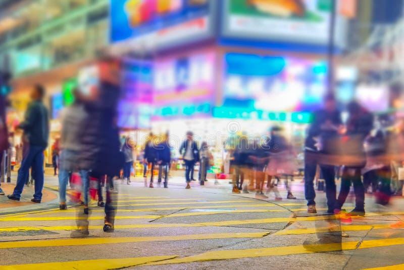 Imagem borrada da rua da cidade da noite Hon Kong imagem de stock