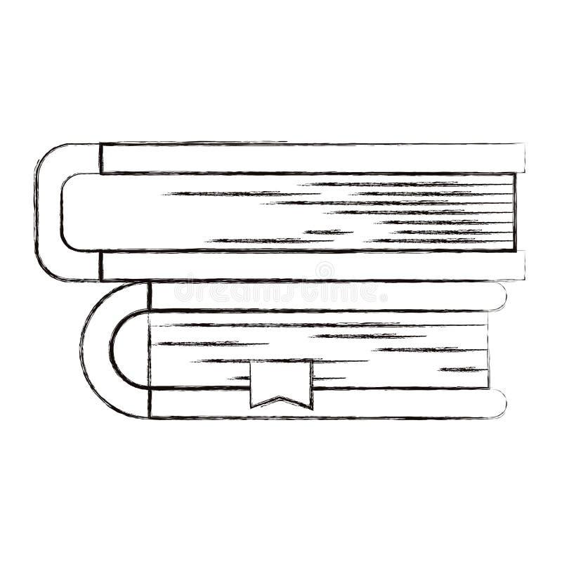 Imagem borrada esboço da silhueta da coleção dos livros com marcador ilustração royalty free