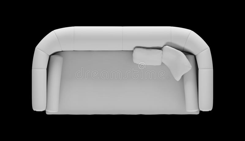 Imagem branca do sofá da vista superior com coxins e ralos imagens de stock
