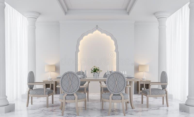 Imagem branca luxuosa da rendição da sala de jantar 3D ilustração royalty free