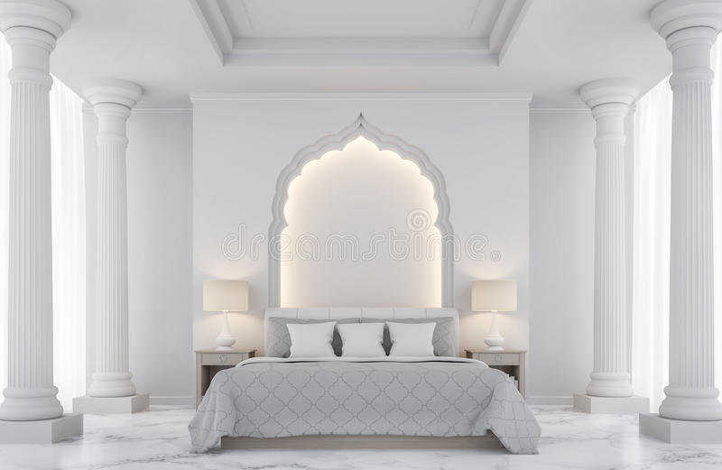 Imagem branca luxuosa da rendição do quarto 3D ilustração do vetor