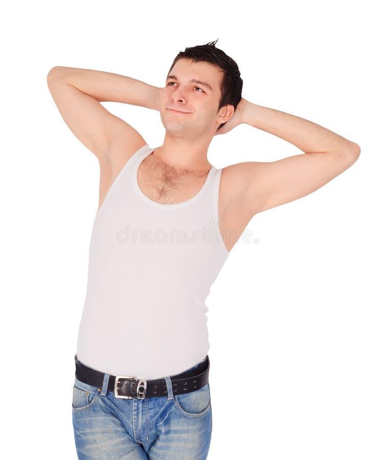 Imagem do homem considerável no t-shirt. imagens de stock royalty free
