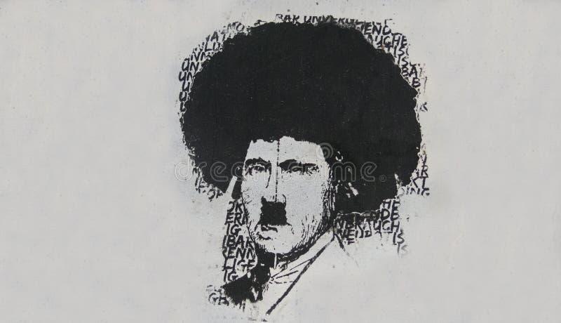 Imagem cômico do ditador nazista Adolf Hitler em uma rua dentro imagens de stock