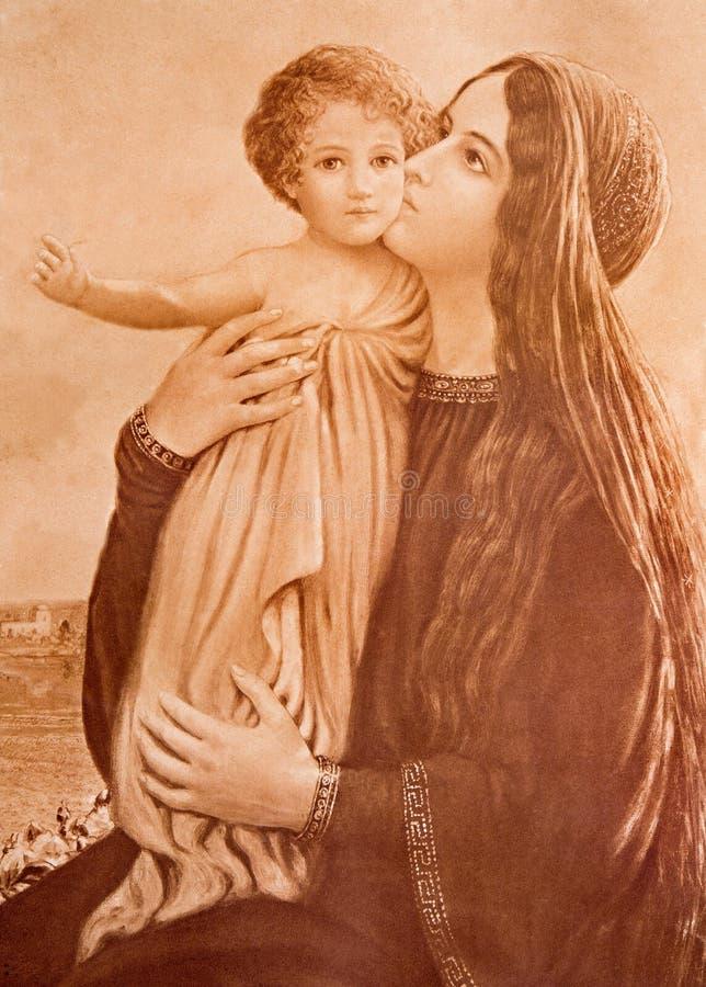 A imagem católica típica de Madonna com a criança (em minha própria casa) imprimiu em Alemanha foto de stock royalty free