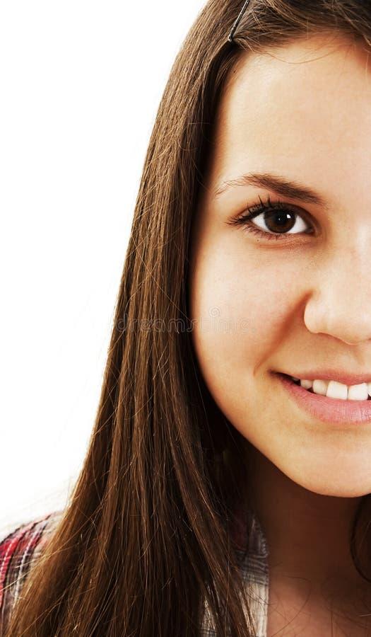 Imagem colhida de uma face encantadora da mulher nova fotografia de stock royalty free