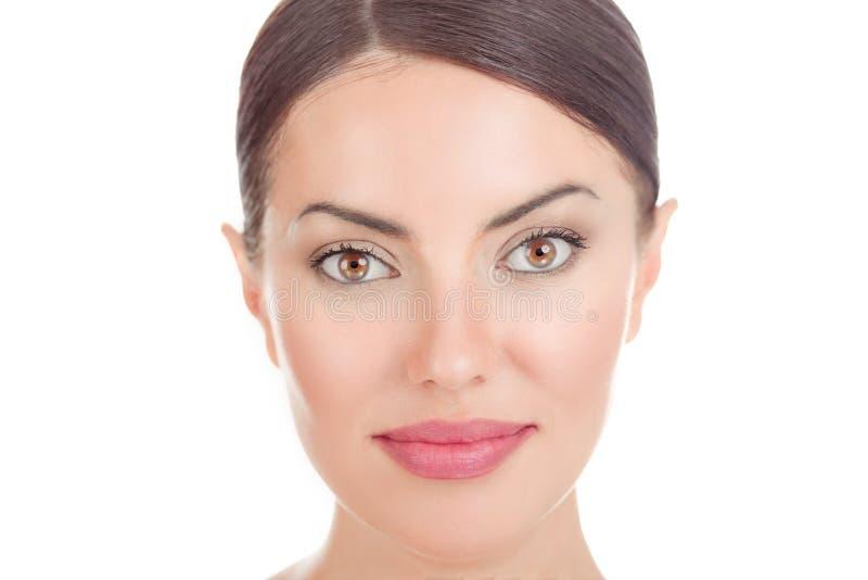 Imagem colhida retrato do close up na cabe?a da cara de uma mulher imagens de stock