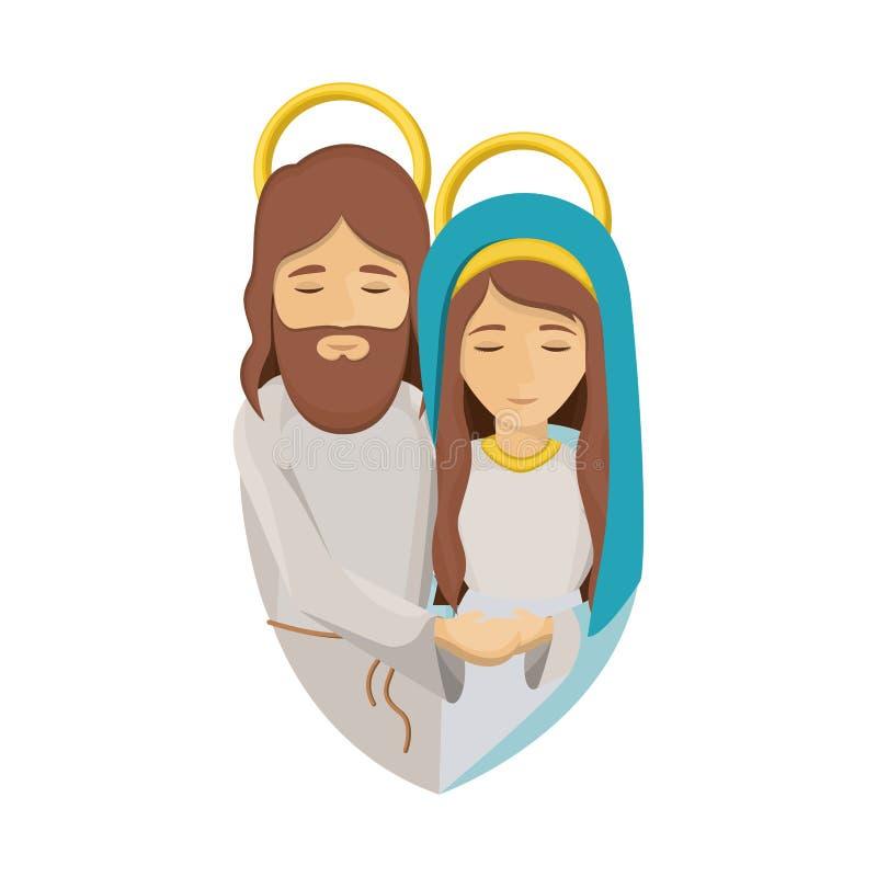 A imagem colorida com meio corpo da Virgem Maria e jesus abraçou ilustração stock
