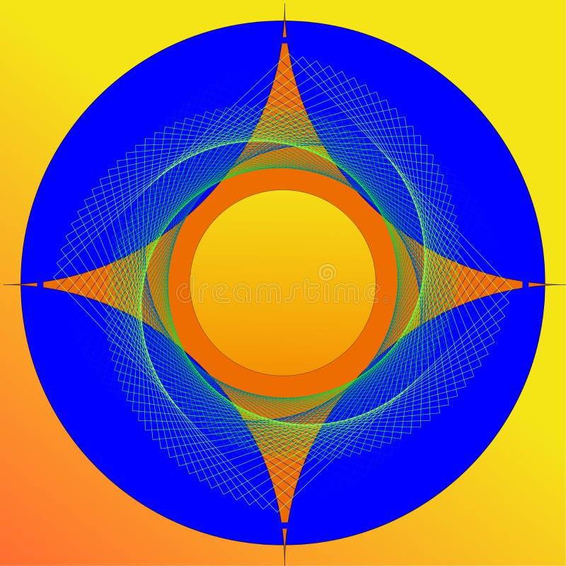 Imagem colorida do sumário da estrela de 4 pontos ilustração do vetor