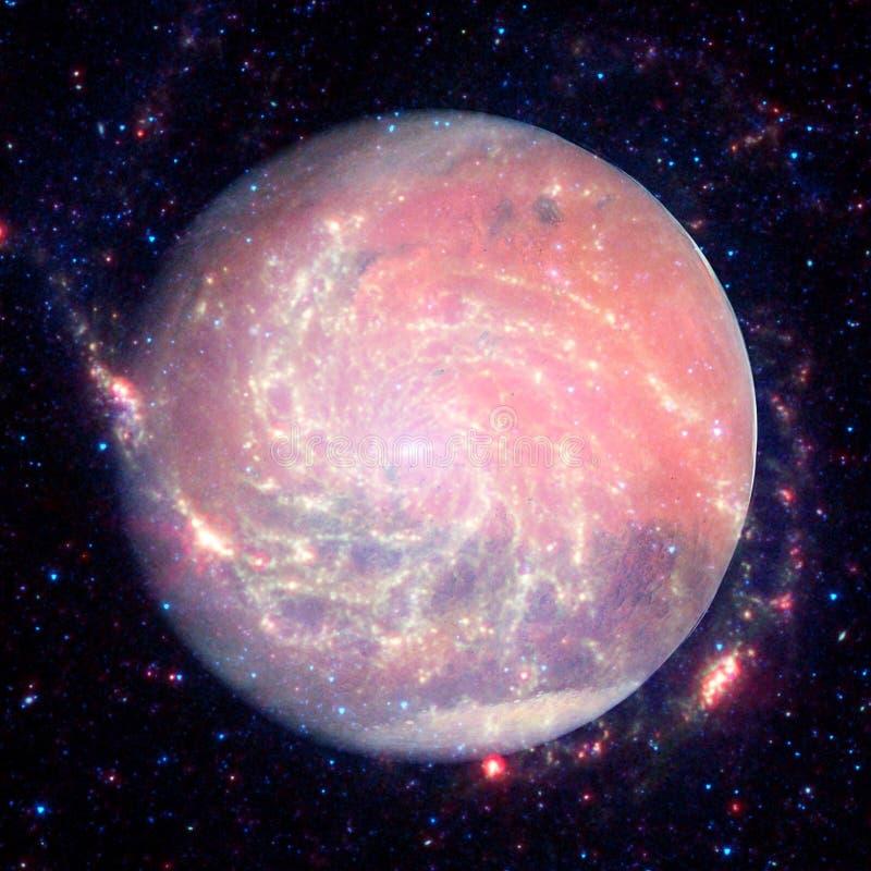 A imagem colorida representa Marte, nebulosa e galáxias ilustração do vetor