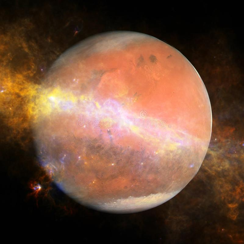 A imagem colorida representa Marte, nebulosa e galáxias ilustração royalty free